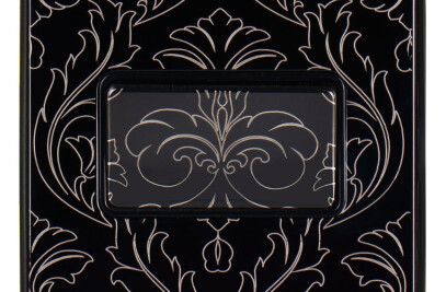 Emblem finishes on Titanium design plate
