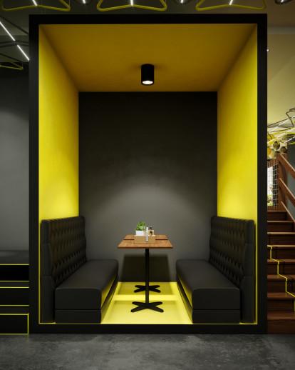 Modern Fast Food Restaurant Interior Design Comelite Architecture Structure And Interior Design Archello