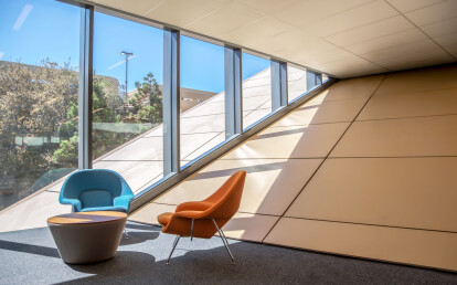 Smooth Interior/Exterior Panels in Custom Yellow   Stanford University, McMurtry Building