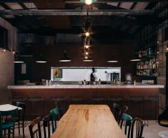 Kitchen, bar coated in corten
