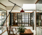 For The Architect's Studio, the design is an outcome of two penthouses retrofitted into one seamless space composed of skylights and courtyard.