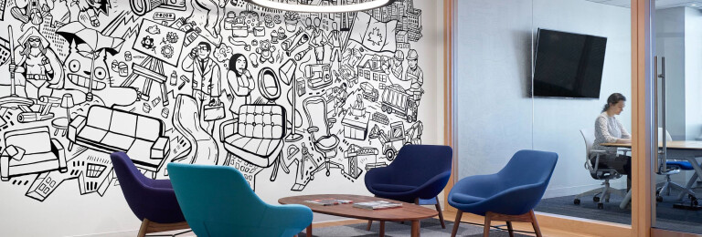 An illustrative mural depicting themes from Informa's exhibitions, by Toronto artist Mike Parsons, enlivens the office's reception area.