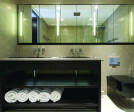 Bespoke Stained Wenge, Underlit Bathroom Cabinets with Sandblasted Mirrored Cabinets