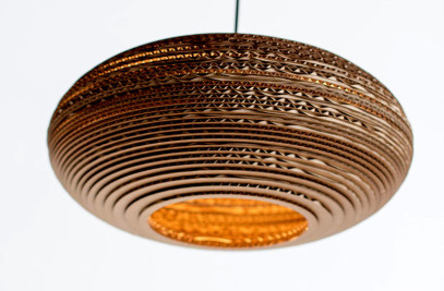 "Oval lampshade (15"") made from recycled cardboard"