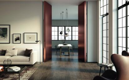 Linvisibile - Brezza - Filo 10 Vertical Pivot Door - Metal copper finish