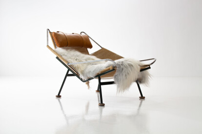 Early Flag Halyard Chair GE225 by Hans Wegner with Wooden Feet for GETAMA, Denmark 1950s
