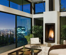 Befitting the cool LA lifestyle, the beautiful living room is graced with contemporary-looking Western Window Systems doors and windows.