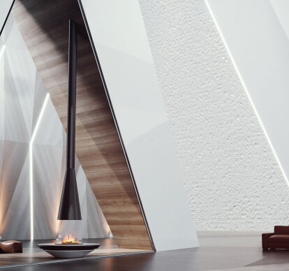 Mystique | Suspended Hood with Base Vapor-Fire Fireplace