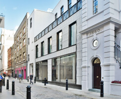11 Floral Street from Langley Court, the new façade concludes the view from Long Acre