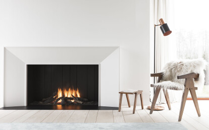Urban open gas fireplace with conicle bespoke finishing frame