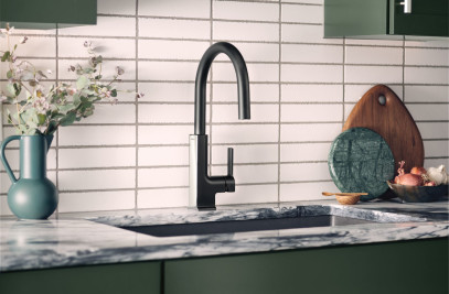 STō Pulldown Kitchen Faucet in Moen's Fusion Dual-Tone Finish