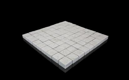 Silberquarzit Light, mosaic diamond-cut surface