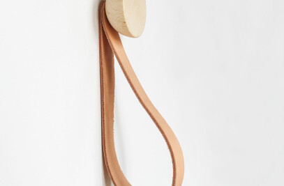 Round Beech Wood Wall Hook / Hanger with Leather Strap