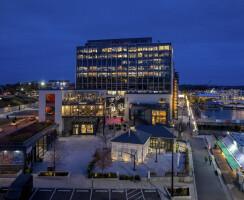 Aerial view of Washington Fish Market campus at night