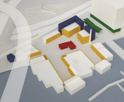 Diagram of new campus integration with existing barges and historic structure.