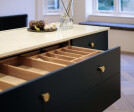 Bespoke kitchen double drawer with cutlery insert in oak.