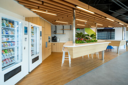 Nutanix office space design with pantry by Space Matrix
