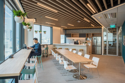 Corporate interior design of Forrester Singapore done by Space Matrix - Pantry view
