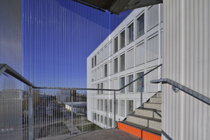 External stair tower cladding with HAVER Architectural Mesh