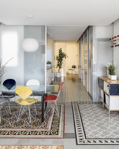 Barcelona apartment renovation reveals a beautiful mosaic of tile