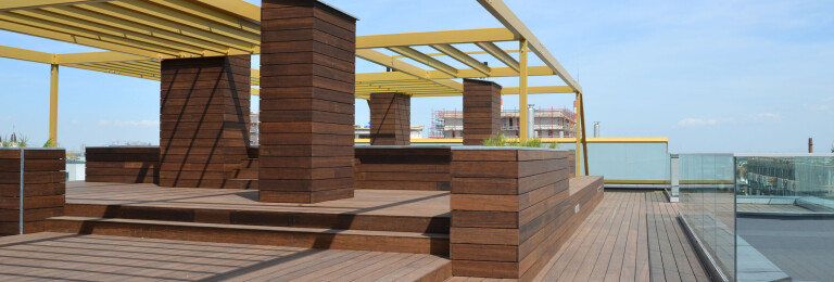 Bamboo decking on rooftop