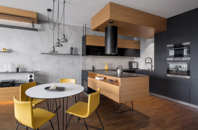 Black kitchen interior