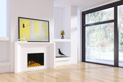Push and Pull: in this installation of an E32H electric fireplace, the minimalist mantel pushes out into the space while the built-in shelves recede into the wall creating architectural intrigue as well as practical storage.