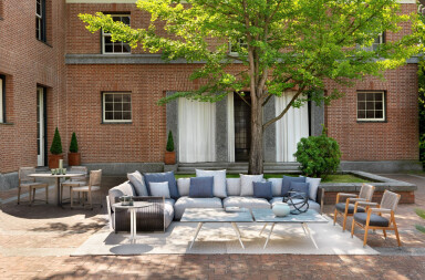 Flexform's outdoor collection turns outdoor spaces into a seamless extensions from the comfort of the living room
