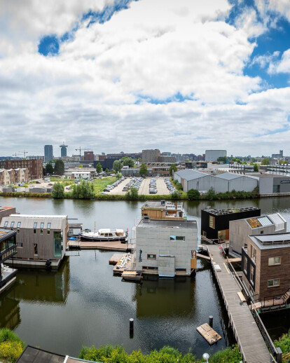 105 residents start living their dream of an energy self-sufficient neighborhood floating on the water