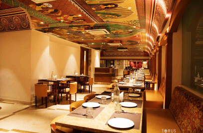Grand ceiling art inspired by Rajput Paintings