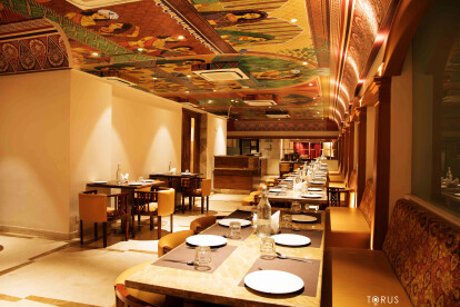 Grand ceiling art inspired by Rajput Paintings - Wall Decor
