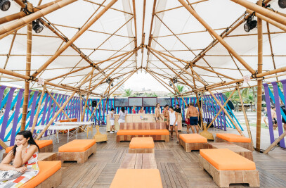 Textile bamboo structures for open-air events