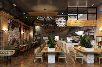 Interior Design Trattoria-Restaurant Il Calcio