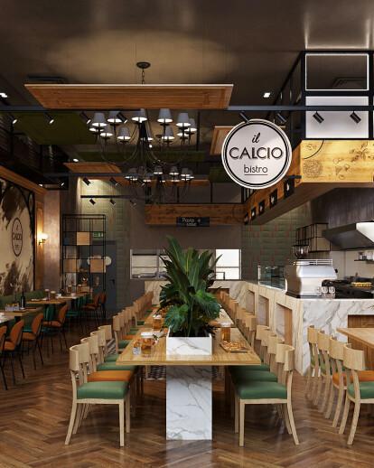 Interior Design Trattoria Restaurant Il Calcio Creativ Interior Studio Archello