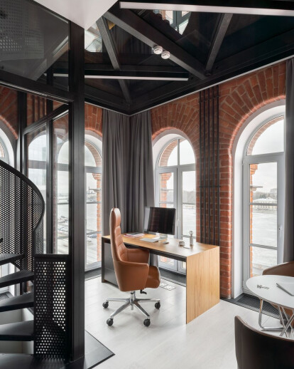 Workspace in the tower of business center NEVKA