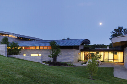 The subtly cascading wing-like roofs at Aileron echo and complement the gently rolling landscape that characterizes much of the 114-acre site.