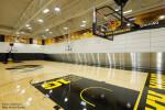 Skyfold movable wall sub-dividing a school gym