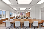 All Skyfold movable walls in ceiling pockets to create one large office conference room