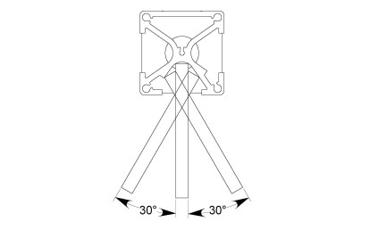 The PUP post offers 60° angle variance so you can 'bend' or adjust to the shape of virtually any space.
