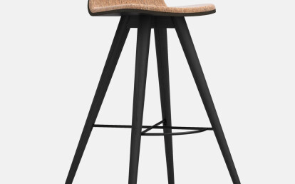 Seed High Stool in Black Coloured Ash and Craft Cork Upholstery