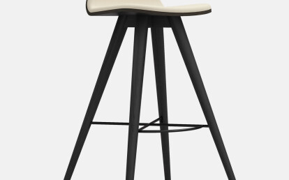 Seed High Stool in Black Coloured Ash and Creme Leather Upholstery