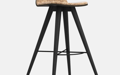 Seed High Stool in Black Coloured Ash and Mescla Cork Upholstery