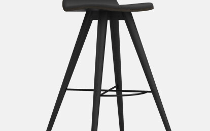 Seed High Stool in Black Coloured Ash and Black Leather Upholstery