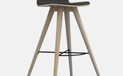 Seed High Stool in Ash and Black Leather Upholtery