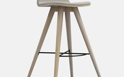 Seed High Stool in Ash and Grey Leather Upholtery