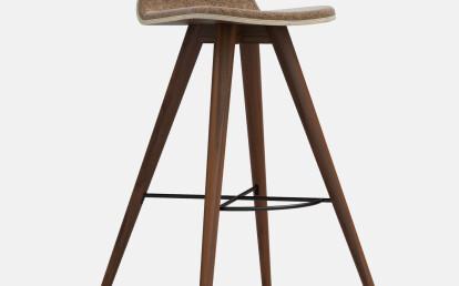 Seed High Stool in Walnut and Portuguese SideWalk Brown Cork Upholstery