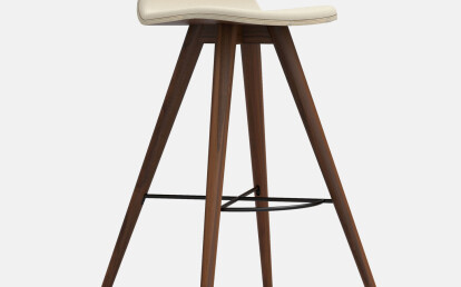 Seed High Stool in Walnut and Creme Leather Upholstery