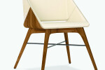 Nest Chair in Retro and Creme Leather Upholstery