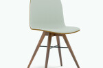 Seed Chair in Walnut and Grey Leather Upholstery