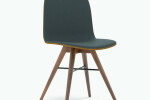 Seed Chair in Walnut and Black Leather Upholstery